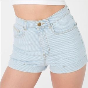 American apparel striped jean shorts.